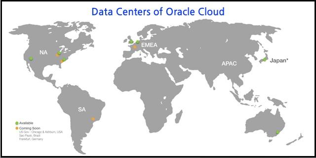 오라클 클라우드 데이터 센터와 센터별 IaaS와 PaaS 서비스 목록